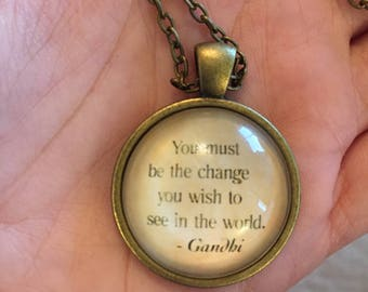 Gandhi Quoted Necklace