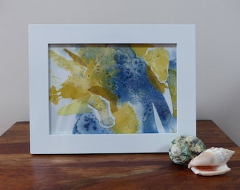 Modern painting in blue and yellow ink