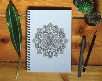 Eco Notebook, Personalized Gift, Handmade Notebook, Recycled Paper, Inspirational Quote, Customized Gift, Mandala Notebook