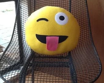 Emoji pillow- Winking face with tongue