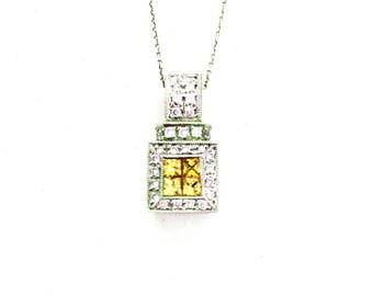 Classic Square Princess Cut Yellow Sapphire & Diamond Encrusted Pendant, 18K White Gold With 14K yellow Gold Accent .95 CT Total Gem Weight