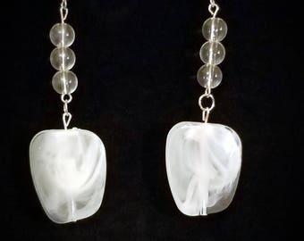 white large bead earrings