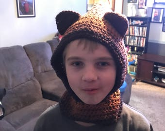 Brown Multicolored cowl with ears. Fits up to 11 year old can be made to order