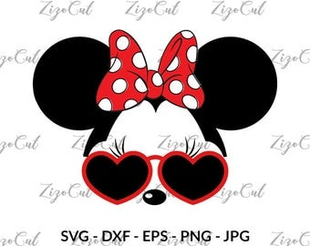 Minnie Mouse with Glasses svg, Minnie Mouse Glasses Ears.