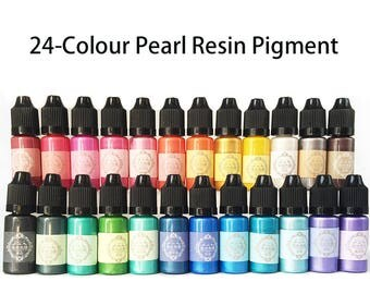 24-Colour 10ml Liquid Pearl Resin Pigment Dye UV Resin Epoxy DIY Making Crafts Jewelry Accessories
