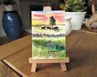 5 x 7, Lone Tree, Cows at Sunset, ink and watercolor, art printables, downloadable art, miniature art, printable art, folk art, pasture