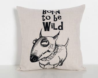 Bull Terrier Wild Cushion Cover
