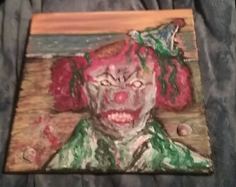 Creepy walking dead zombie clown,arcrilic paint 10x10 canvas wood frame,evil depression art,happy holidays