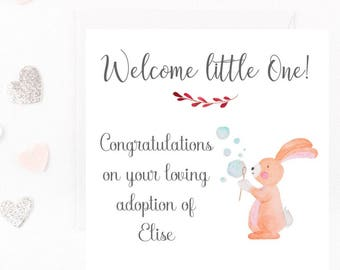 Adoption Card, Personalised Adoption Card, New Family, New Baby Girl, New Addition Card Welcome Card, New Parents Any Wording, Handmade Card