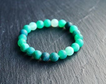 All Natural Frosted Green Agate | Adult and Junior Stretch Cord Bracelets