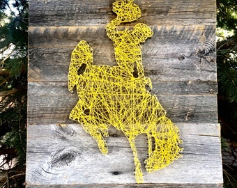 """String Art, Distressed, Reclaimed, Western, Wyoming Cowboys, Wood Art, Wall Art, Home Decor, Decor, Man Cave, Steamboat, """"Rustic Steamboat"""""""