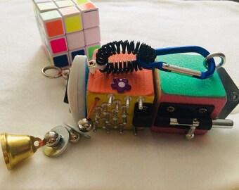 Cube, busy Board, toy, child, Montessori, fine motor skills,