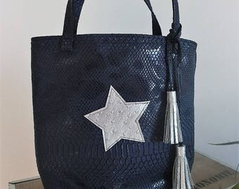 Navy blue leather bag