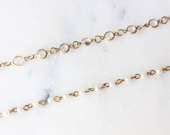 Linked Crystal / Pearl Choker Necklace