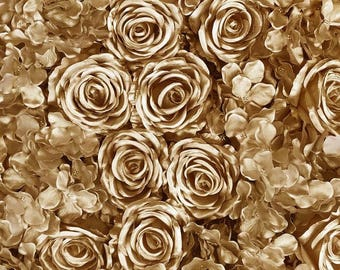 Gold Rose Flower Wall Roses Hydrangeas Artificial Flower Wall Wedding Decorations Fake Flower Greenery Flower Sale Square Gold Wholesale
