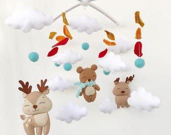 boy Baby Crib Mobile. Nursery Felt Mobile. boy Theme. Baby Mobile. Crib Mobile. Nursery Mobile, Baby Mobiles Hanging. felt Mobile