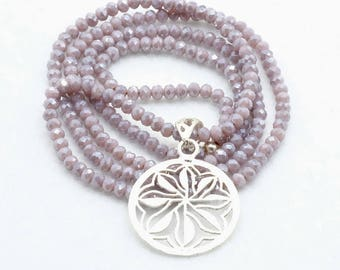 Necklace-lilac-long-glass beads-Silver pendant-blossoms Mandala-hippie style-Boho style-pearl necklace