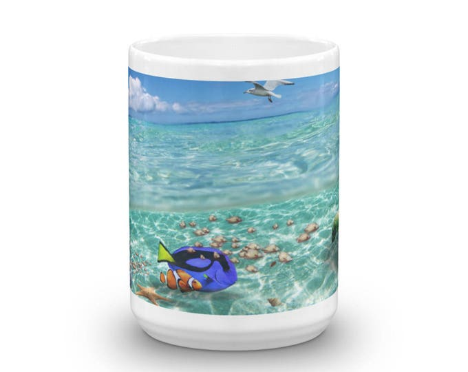 Finding Clown Fish Mug, Looking for a fish cup, not rhyming with Remo, Movie Parody Coffee Cup Design, Underwater Seascape Cup, Coffee Gift