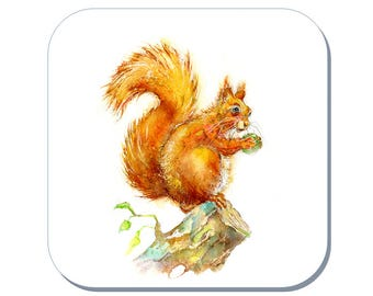Red Squirrel Coaster (Corked Back) - from an original Sheila Gill Watercolour Painting