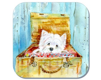 Basket Case, West Highland Terrier (Westie) - Dog Coaster (Corked Back). From an original Sheila Gill Watercolour Painting