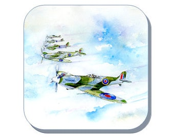 Spitfire - Coaster (Corked Back). From an original Sheila Gill Watercolour Painting
