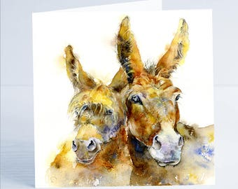 Donkey - Greeting Card - Taken from an original Sheila Gill Watercolour Painting.