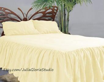 Linen bedding, Linen coverlet, Natural bedding, Linen,  Linen Duvet, Flax Duvet, Shabby Chic Duvet, Bedskirt, Pleated bed skirt, Dust ruffle