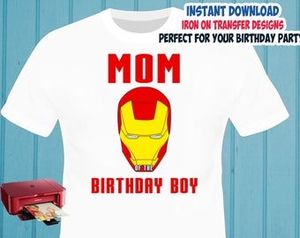 Iron Man Iron On Transfer , Mommy Birthday Shirt Iron On Transfer , Digital Files , PNG , High Resolution , Instant Download
