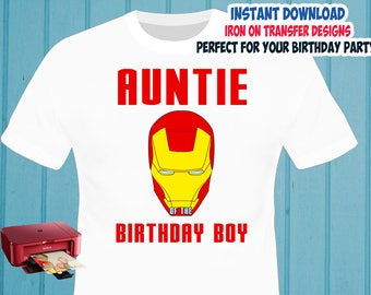 Iron Man Iron On Transfer , Auntie Birthday Shirt Iron On Transfer , Digital Files , PNG , High Resolution , Instant Download