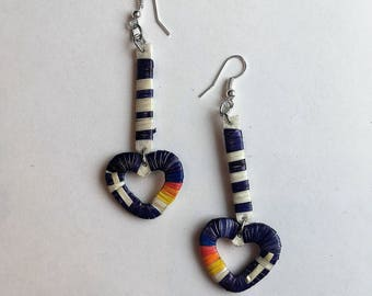 Purple Quilled Hearts Earrings - Lakota Sioux - Native Quillwork