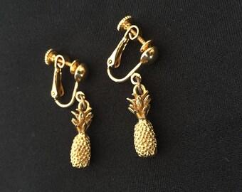 Vintage Pineapples Clip on Earrings
