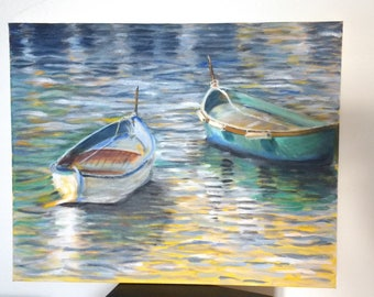 Oil Painting of Boats in Daylight