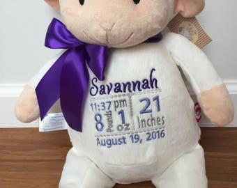 Personalized Lamb Cubbie Stuffed Animal
