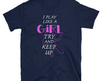 Yeah I Play Hockey Like A Girl T-Shirt Hockey Girl Tee
