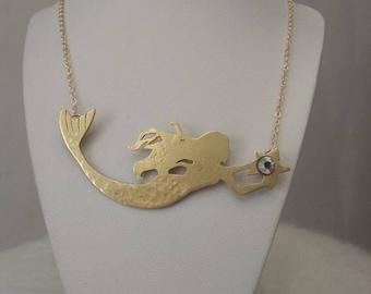 Jewelry Necklace in bronze and Swarovski Crystal Mermaid
