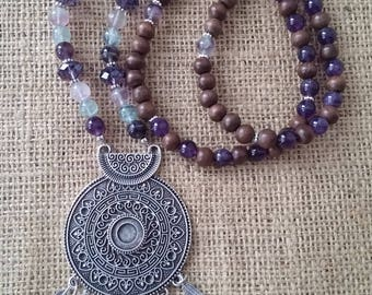 Ooak Silver tribal medallion necklace