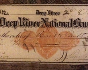 Deep river national bank check 1800s