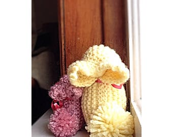 Bunny and Mum Knit Stuffed Animal Yellow/Pink