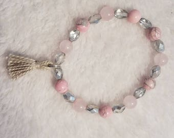 Stackable Rhodonite and Rose Quartz Crystal Beaded Stretchy Bracelet with Tassel