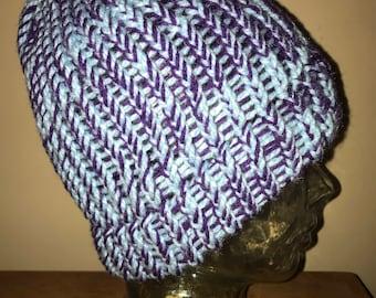 Purple/Light Blue Knit Beanie
