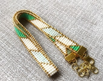 Green and gold Miyuki Bracelet / Beaded Bracelet / Miyuki Beads / Miyuki Bead Bracelet / Miyuki Delica