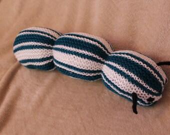 Hand-Knit Squishy Blue & White Striped Caterpillar
