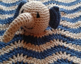 Blue and Brown Crochet Elephant Lovey