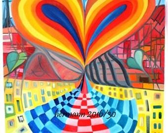 """Oil """"Rainbow Heart"""""""
