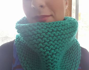 Cowl scarf, Cowl hood, Knit cowl, Knitted, Hand knit, SOFT, Emerald, Color choice, handmade
