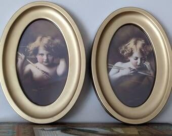 Vintage Cupid Awake & Cupid Asleep Framed Prints