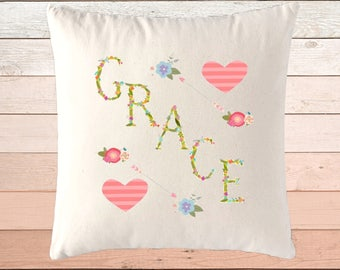 Flowers Name Pillow Girl