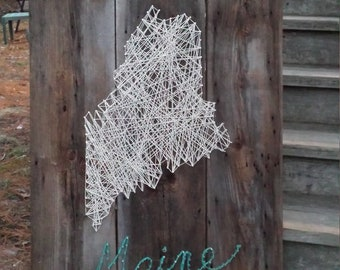 Maine string art wall hanging