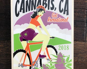 Cannabis CA, print on wood