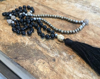 Sparkly black and Mixed Metals bead Mala